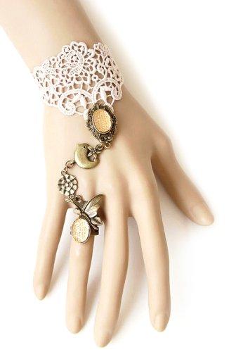 sasa 公主 欧美创意复古蕾丝手链戒指一体套装-花容月