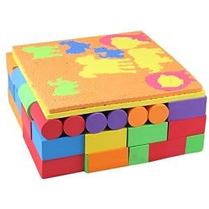 家乐宝 年中大促 食品级安全大块eva积木100片 形状动物 多彩创意积木