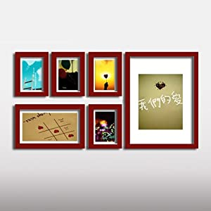 木照片墙 6框相框墙组合 创意组合相片墙 HD 006 樱桃木色.不含画心图片