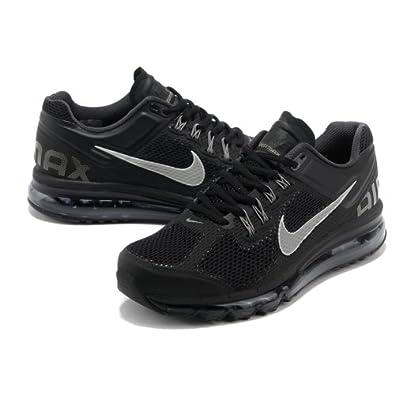 nike耐克2013新款男女款airmax+全掌气垫跑步鞋运动鞋黑灰高清图片