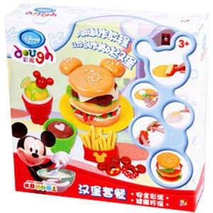 迪士尼 正品 彩泥 橡皮泥 无毒 模具 套装 汉堡套餐ds