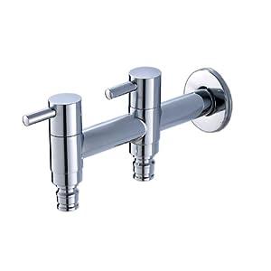 元旭 全铜材质 双洗衣机专用水龙头 阳台入墙拖把池龙头 双用四分 yx