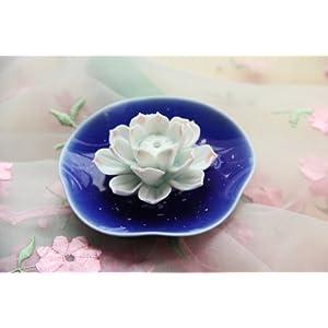 陶瓷手绘手工制作彩釉莲花熏香座h款蓝色豹圆盘+红莲