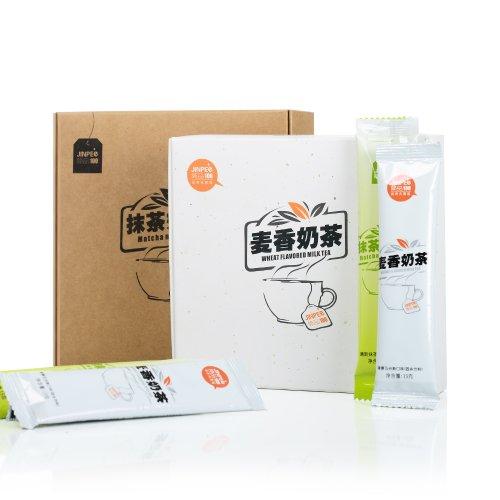 简品100经典奶茶组合 麦香奶茶+抹茶奶茶 奶茶粉-图片