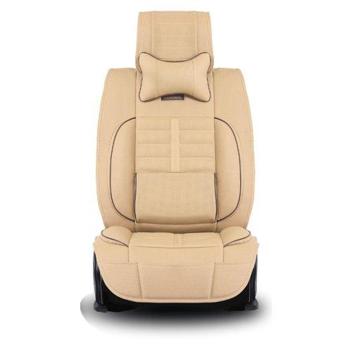 MR.MA马先生 新款汽车坐垫 高级丹尼皮中药健康坐垫 夏季四季五座通用座垫座套 全包式 (米色)-图片