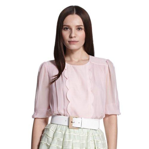 ochirly 欧时力 女式 OL通勤纯色宽松中袖衬衫 1132013010722