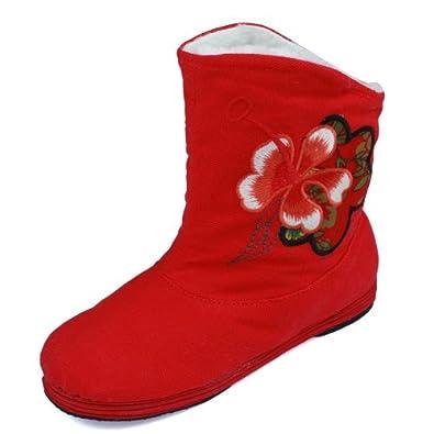 老北京布鞋绣花女布靴