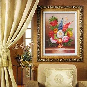 煌巢尚品 油画 欧式客厅装饰画 手绘古典花壁画餐厅挂画 电表箱有框画