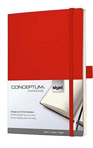 德国sigel 笔记本conceptum系列, 红色, 软封面,方格,横线内页 (横线