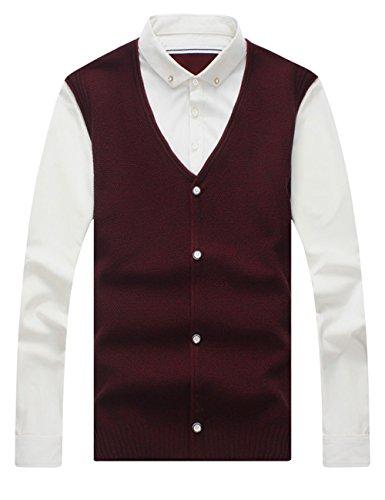 UYUK 秋季针织衫男士上衣 韩版潮休闲长袖修身假两件衬衫领毛衣 XZW347