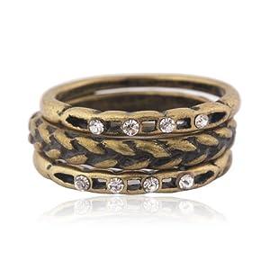 韩国YIBOYO饰品 时尚复古3环戒指指环 任意个性搭配组合韩国进口 (A-001古铜色)