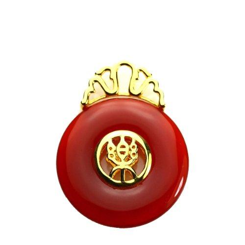 王廷珠宝 红玛瑙吊坠 快乐款 赠送925银链-图片