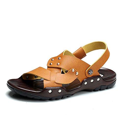 公牛世家 夏季真皮凉鞋 男士休闲拖鞋沙滩鞋(888164)