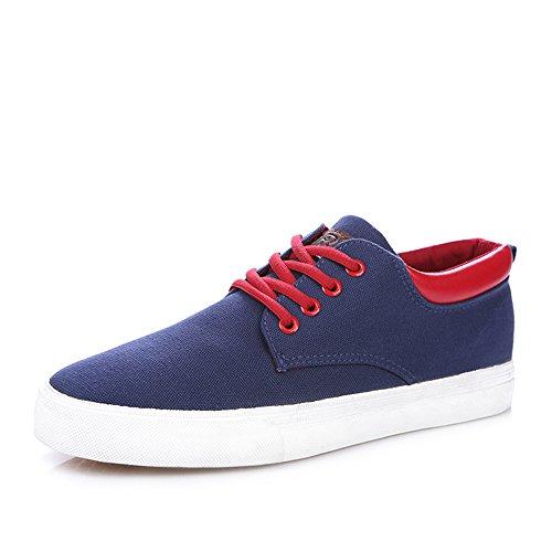 人本 春款简约系带帆布鞋 男士休闲鞋 男轻便内增高平底单鞋 布鞋子RB9953