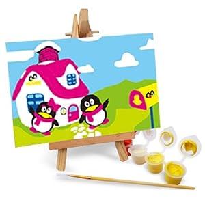 自油自画 数字油画diy手绘 动漫卡通迷你油画 送木架多款选 qq家园