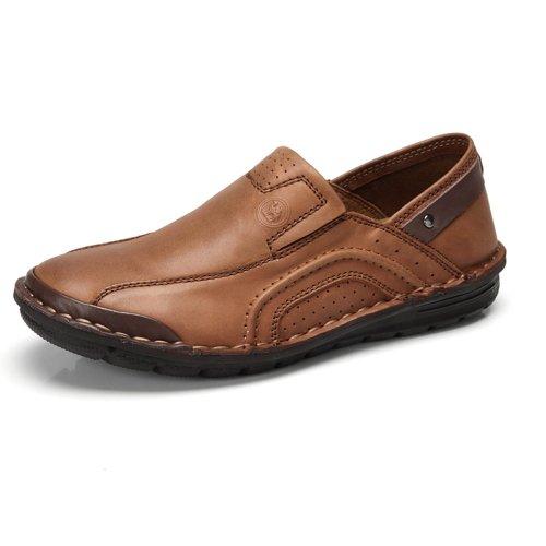 骆驼牌 男鞋 头层牛鞋日常休闲鞋 车缝线套脚鞋 W32381007