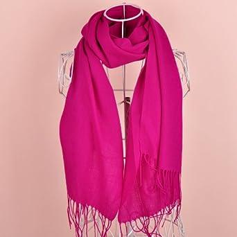 精纺纯羊毛单色长围巾披肩sf314玫粉色