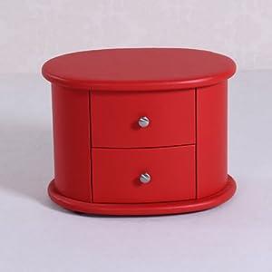 金吉家 真皮红色两抽屉床头柜 颜色亮丽 婚礼必备家具 56X40X42cm SE014 红色 (红色