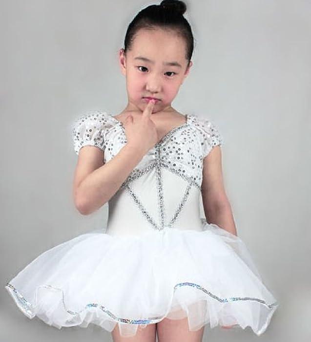 儿童跳舞练功服 拉丁舞服装新款 儿童晚礼服公主裙跳舞衣服8025 白色
