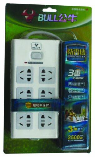 BULL 公牛3重防雷插座H2060 3M双排6孔单开超功率保护 独创新国标 保护电器 保护家人安全-图片