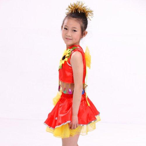 梦之艺 儿童舞蹈服女童 幼儿演出服装 六一儿童节舞台表演蝴蝶裙 跳舞