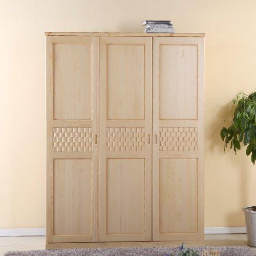世香缘 松木衣柜 整体衣柜 全实木四门三门两门储物衣橱 组装家具