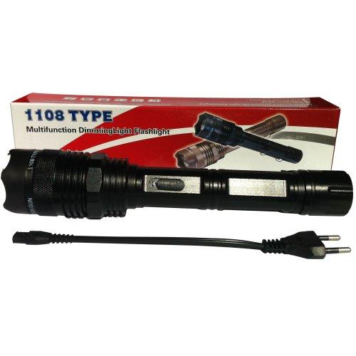 创新 大尺寸 全合金 高压直充 防身型手电筒 三档变光 强 弱 暴闪  黑色(带背夹) CX31-图片