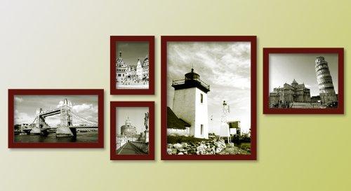 乐斯5相框实木照片墙组合 5A03咖啡色