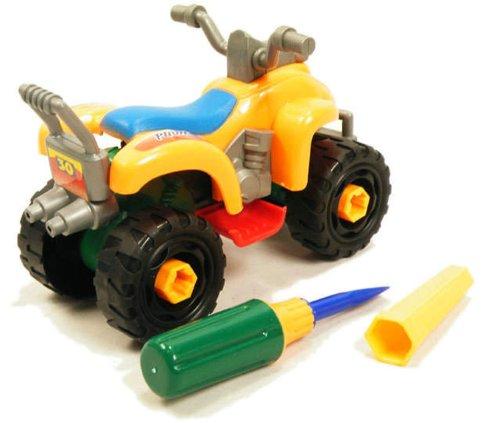 HABIBI 大号仿真可拆装沙滩摩托车 拆装益智玩具 摩托车模型(黄色,蓝色随机发)-图片