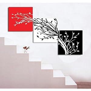 典呈装饰画 时尚简约无框画 现代客厅挂画 黑白抽象发财树 黑白红左高