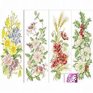 dmc 多美绣 大幅客厅卧室欧式花卉油画四季花完整 法国 十字绣 11ct