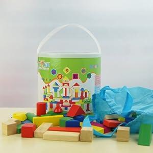 木童 玩具 78粒橡木桶装积木 多彩木质积木玩具 儿童益智堆塔积木