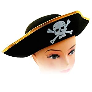 快乐派对 万圣节装扮 化装舞会骷髅头帽子 加勒比海盗帽 扁骷髅海盗图片