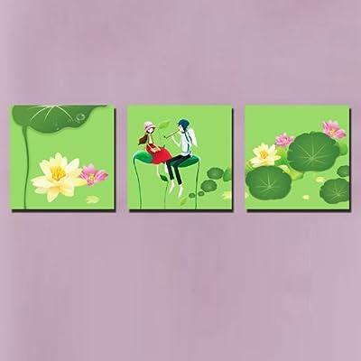 美时美刻 卡通动物装饰画荷花池公主王子无框画儿童房