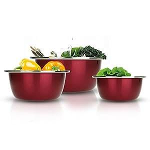 拉菲红料理盆三件套 不锈钢加深水果盆 汤盆 和面盆 打蛋盆 洗菜盆 沙