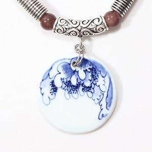 意大利原创 限量体验款 纯手工手绘青花复古荷叶形圆形陶瓷吊坠项链