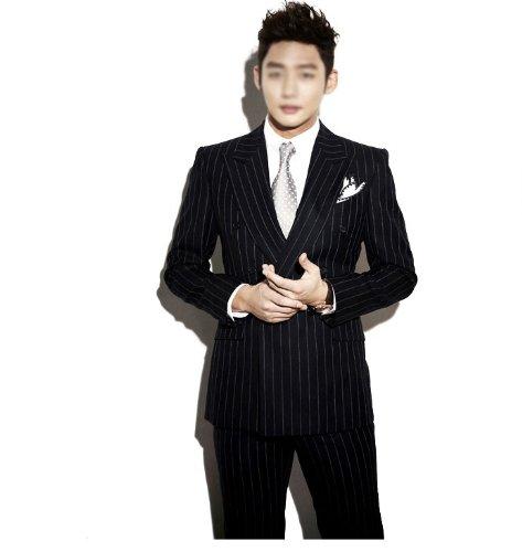 回至 衣锦韩社 韩版修身套装西服 男士结婚礼服 黑白条纹色 两粒双排