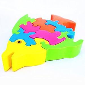 益智玩具 鱼形拼图 动物大块积木拼图 diy玩具