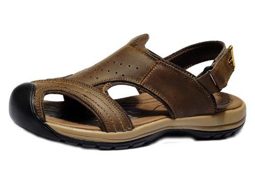 vancamel 西域骆驼 时尚户外凉拖 舒适透气休闲鞋 头层牛皮手工包头凉鞋 真皮沙滩凉鞋 男鞋