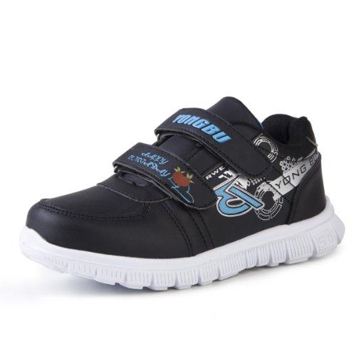 高龙步 男童鞋儿童休闲运动鞋软底旅游鞋魔术贴 1467 (34, 黑色)-图片