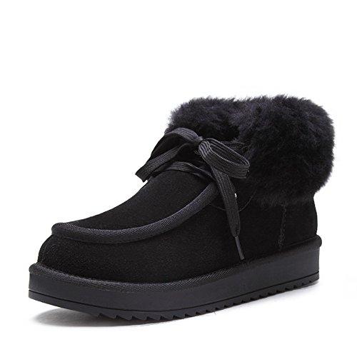 Acesc 艾斯臣 真羊皮松糕雪地靴2015秋冬新款休闲系带厚底棉靴羊毛短靴