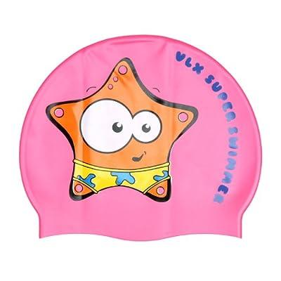 vlx 可爱卡通印花纯硅胶儿童游泳帽 超级小星星(粉色)