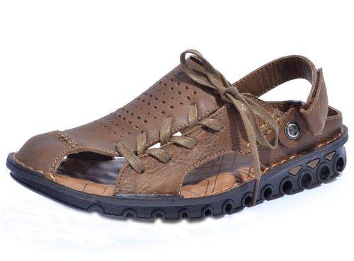 Camel 骆驼 时尚英伦超酷系带款潮男户外凉拖 舒适透气沙滩鞋休闲鞋 头层牛皮手工凉鞋 真皮沙滩凉鞋 男鞋