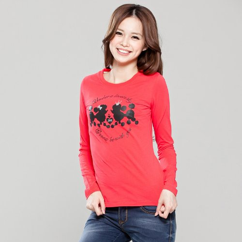 KUMOTA 云田素衣 春装 女装 修身韩版圆领 圆领长袖t恤 大码打底衫 红色纯棉t恤