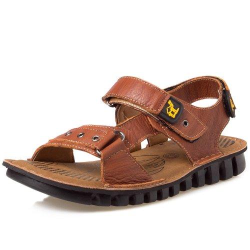 Camel 骆驼 时尚舒适头层牛皮 炎炎盛夏型男个性必备款 清爽透气运动凉鞋休闲鞋 真皮男鞋 户外沙滩鞋拖鞋