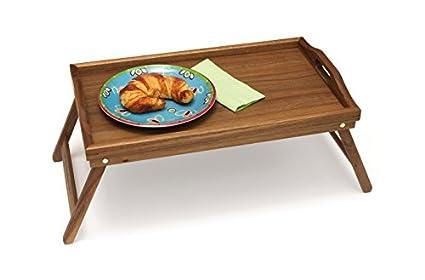 Lipper Acacia Bed Tray with Folding Legs Acacia 膳魔师床上可折叠用餐托盘,可以在床上吃东西和看书