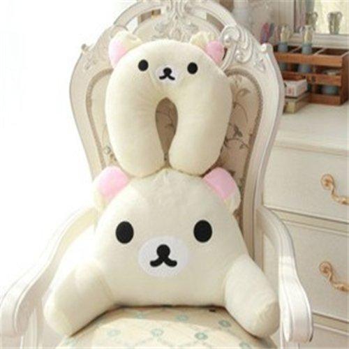 家居生活 家纺布艺 靠枕坐垫 乐够 毛绒玩具 卡通动物颈枕腰枕一套