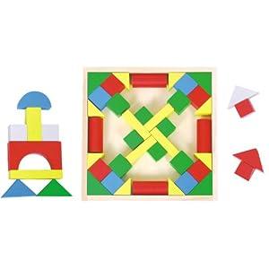 木马智慧 木质婴幼益智玩具 积木类 彩色积木 48块积木盒26540