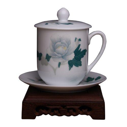 Snowwolf 雪狼 毛瓷7501 釉下彩创意办公室陶瓷带盖茶杯  二会专用 CZY Y (白牡丹杯碟)-图片
