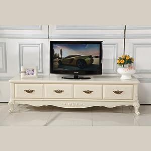 欧式风格田园白色电视柜组合实木地